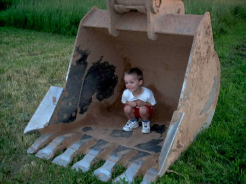 jacob in backhoe bucket